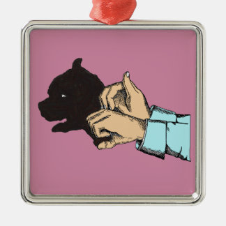Hand Art Dog Image On Square Ormanent Metal Ornament