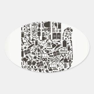 Hand art oval sticker