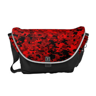 Hand bag with red digital camo print.
