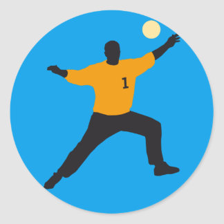 hand ball goal more keeper classic round sticker