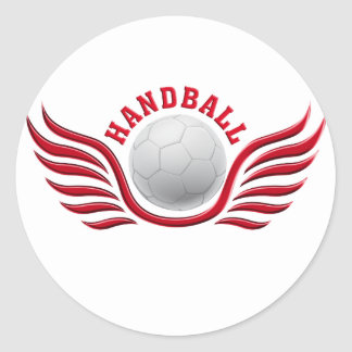 hand ball wings classic round sticker