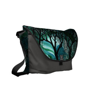 Hand Carved and Cross Hatched Trees on Green Courier Bag