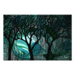 Hand Carved and Cross Hatched Trees on Green Photo Print