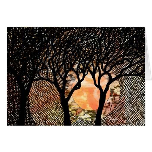 Hand Carved and Cross Hatched Trees on Orange Card