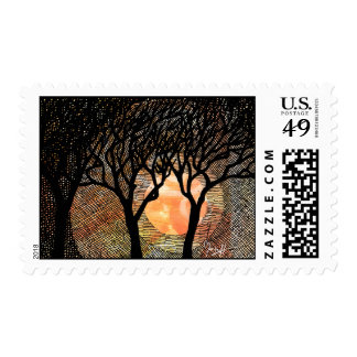 Hand Carved and Cross Hatched Trees on Orange Postage Stamp
