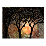 Hand Carved and Cross Hatched Trees on Orange Postcard