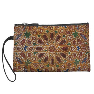 Hand carved and painted wooden door in Morocco Wristlet Wallet