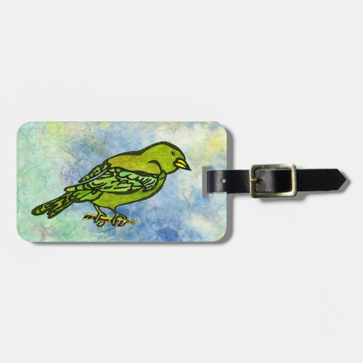 Hand Carved Bird in Yellow watercolors Luggage Tags