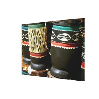 Hand carved drums, Livingston, Zambia Canvas Print
