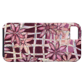 Hand Carved Flowers Burgundy iPhone SE/5/5s Case