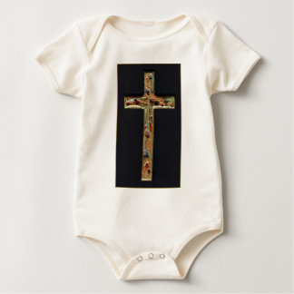Hand Carved Gold Cross Baby Bodysuit