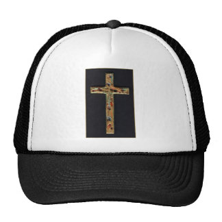 Hand Carved Gold Cross Mesh Hat