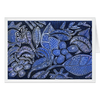 Hand Carved Leaves and Flowers - in Blue Card