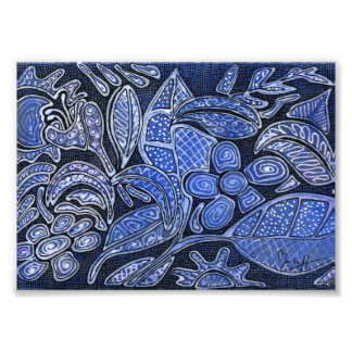 Hand Carved Leaves and Flowers - in Blue Photo Print