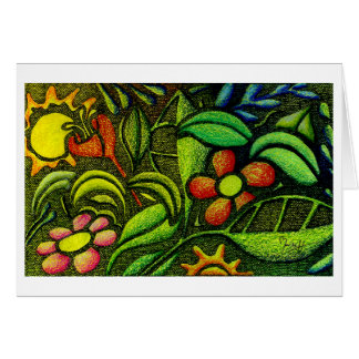Hand Carved Leaves and Flowers in Colored Pencils Stationery Note Card