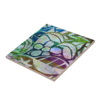 Hand Carved Leaves and Flowers - in Green Blue Ceramic Tile