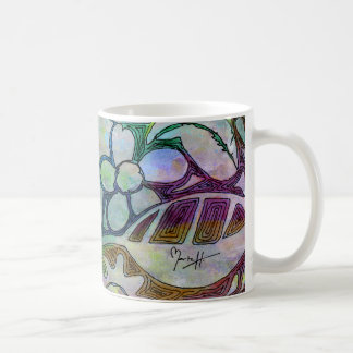 Hand Carved Leaves and Flowers - in Green Blue Coffee Mug