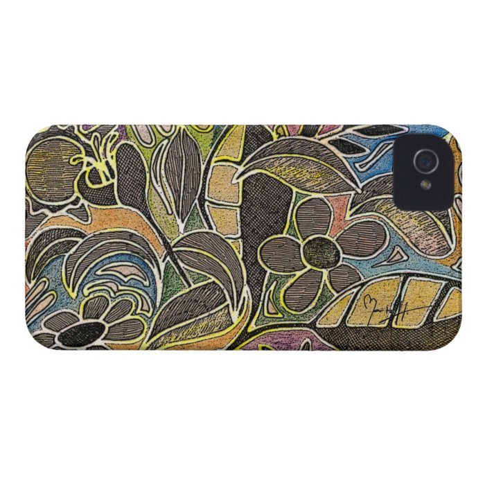 Hand Carved Leaves and Flowers - in Orange Blue iPhone 4 Case-Mate Case