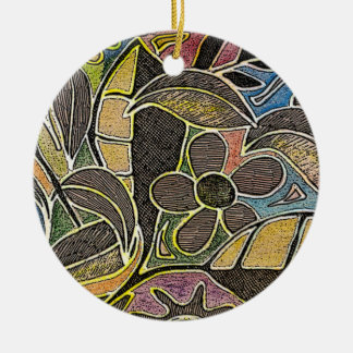 Hand Carved Leaves and Flowers - in Orange Blue Double-Sided Ceramic Round Christmas Ornament