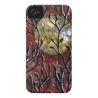 Hand Carved Leaves in Burgundy Case-Mate iPhone 4 Cases