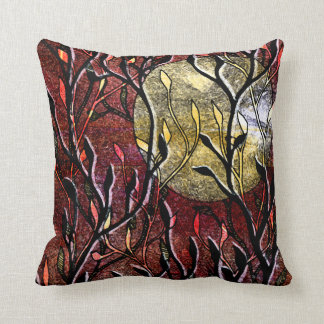 Hand Carved Leaves in Burgundy Pillow