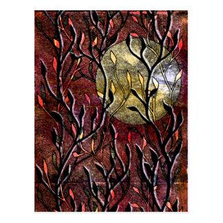 Hand Carved Leaves in Burgundy Postcard