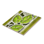 Hand Carved Leaves in Green Ceramic Tiles