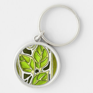 Hand Carved Leaves in Green Keychain