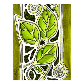 Hand Carved Leaves in Green Postcard