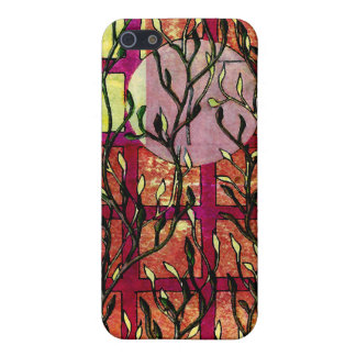 Hand Carved Leaves in Pink Orange with Grid Case For iPhone SE/5/5s