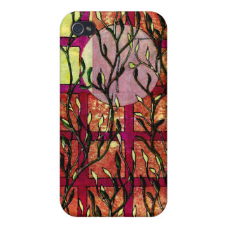 Hand Carved Leaves in Pink Orange with Grid Cases For iPhone 4