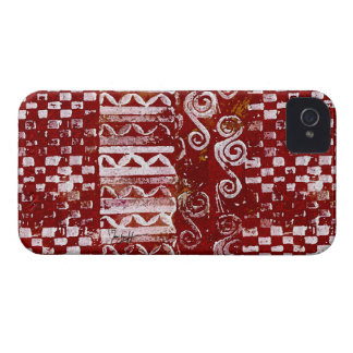 Hand Carved Patterns on Red Canvas iPhone 4 Cover