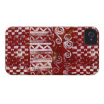 Hand Carved Patterns on Red Canvas iPhone 4 Covers