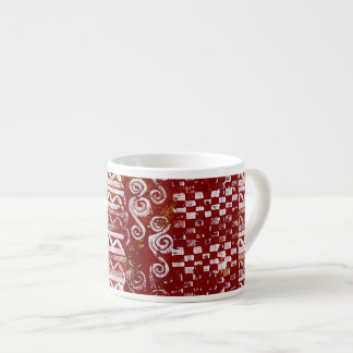 Hand Carved Patterns on Red Canvas Espresso Cups