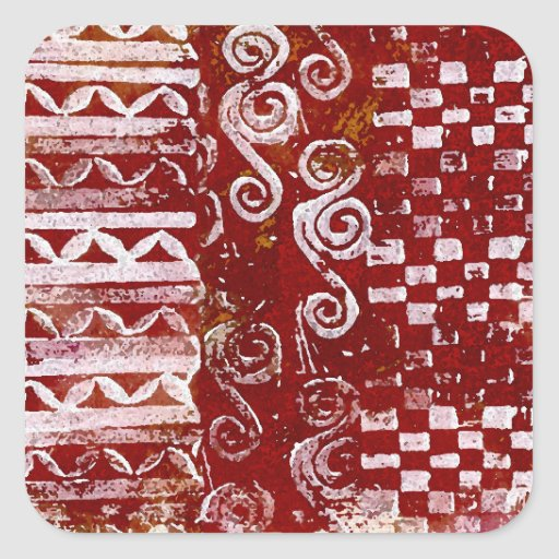Hand Carved Patterns on Red Canvas Square Sticker