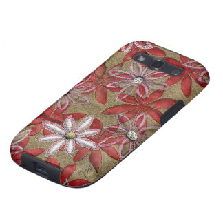 Hand Carved Quilted Red and Pink Flowers Samsung Galaxy SIII Covers