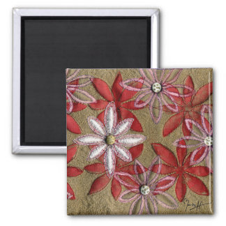Hand Carved Quilted Red and Pink Flowers 2 Inch Square Magnet