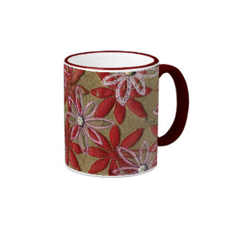 Hand Carved Quilted Red and Pink Flowers Coffee Mug