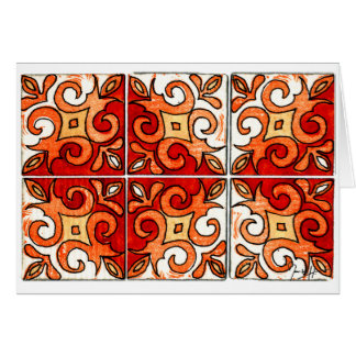 Hand Carved Tile Design 6 Painted in Watercolors Card