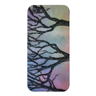 Hand Carved Trees on Blue and Pink Watercolor Case For iPhone SE/5/5s