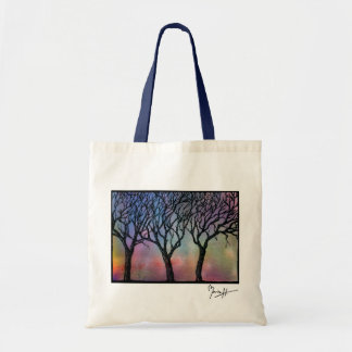 Hand Carved Trees on Blue and Pink Watercolor Tote Bag