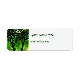 Hand Carved Trees on Green Marbling Label