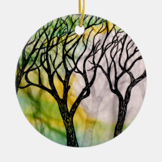 Hand Carved Trees on Rice Paper Ceramic Ornament