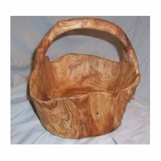 hand carved wood basket cutout