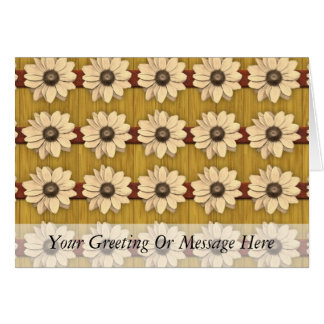 Hand Carved Wooden Daisies Card