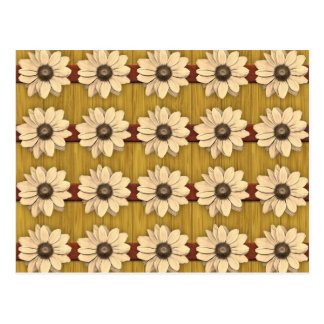 Hand Carved Wooden Daisies Postcard