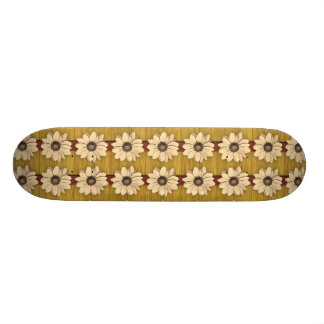 Hand Carved Wooden Daisies Skateboard
