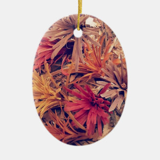Hand carved wooden Forever flowers Ceramic Ornament