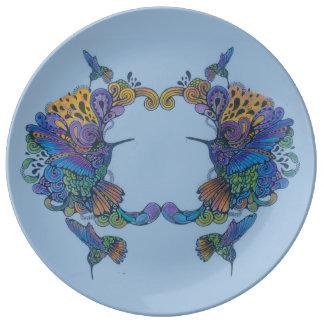 "Hand-Colored 11  10.75"" Decorative Porcelain Plate"
