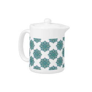 Hand-Colored Blue Snowflake Teapot